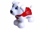 28325 6175215 Hund mit rotem Cape - weiß