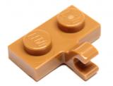 11476 6218361 Platte 1 x 2 mit Clip - medium nougat