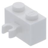 95820 6320300 Baustein 1 x 2 mit Clip - weiß