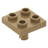 2476 4541618 Platte 2 x 2 invertiert mit Pin - Dunkelbeige